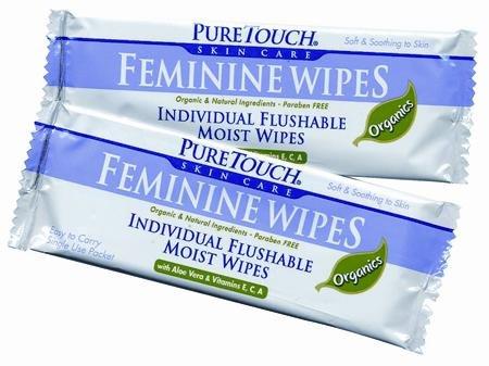 Puretouch Feminine Wipes - Pure Touch Feminine Wipes ORGANICS Individual Flushable Moist Wipes BULK of 350 Single-Use-Packets