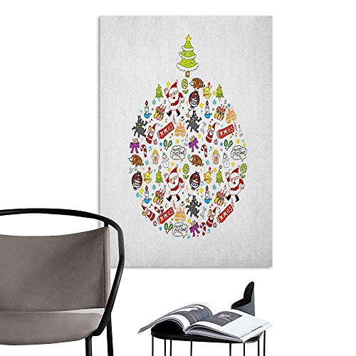 (Alexandear Wall Mural Wallpaper Stickers Kids Christmas Merry Xmas Wish and Circle of Happy Cute New Year Icons Under Pine Tree Multicolor Hall Fashion W32 x)