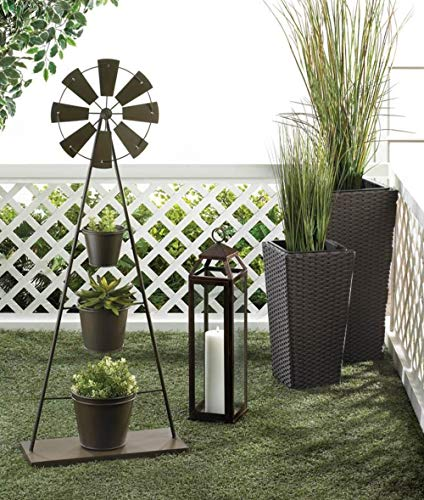 Country Plant Stands - Country Plant Stand Bronze Modern Farmhouse 3 Tier Metal Plants Stand Rustic Outdoor Decorative Windmill Planter Organizer Barn Farm House Three Tiered Patio Garden Iron Flower Pot Rack Garden Gifts