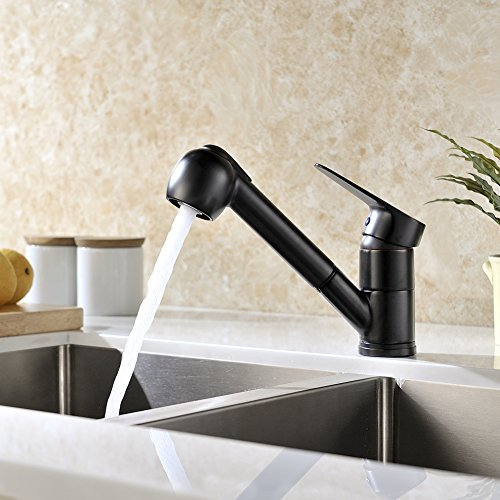 Gicasa modern single handle sink faucet stainless steel for Oiled bronze faucet with stainless steel sink