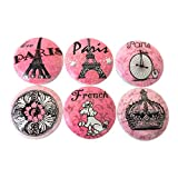 Set of 6 Pink Paris Wood Cabinet Knobs
