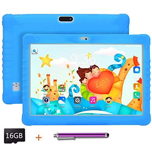 Kids Tablet 10.1 inch Display, Kids Mode Pre-Installed, with WiFi, Bluetooth and Games, 16GB SD Card, Stylus Pen, Quad Core Processor, 1280×800 IPS HD Display (Blue)
