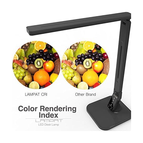 Lampat LED Desk Lamp, Dimmable LED Table Lamp Black, 4