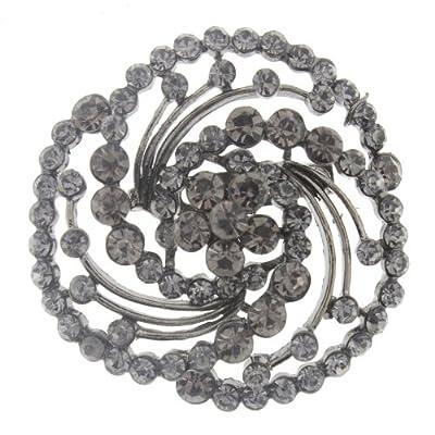 "discount Black Tone Fashion Brooch Pin in an Elegant Spiral design with Round Rhinestones - 2"" Diameter Diameter supplies"