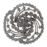 "Black Tone Fashion Brooch Pin in an Elegant Spiral design with Round Rhinestones - 2"" Diameter Diameter"