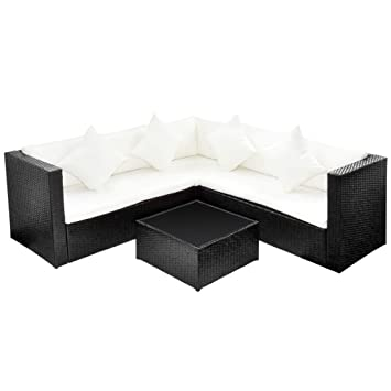 Rattan ecksofa lounge  vidaXL Lounge Set Poly Rattan Schwarz Gartenmöbel Sitzgruppe ...