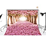 LB 7ft X5ft Cherry Blossoms Street Poly Fabric Photo Backdrops Customized Studio Background Studio Props Floral Tree Scenery Backdrop 14-402