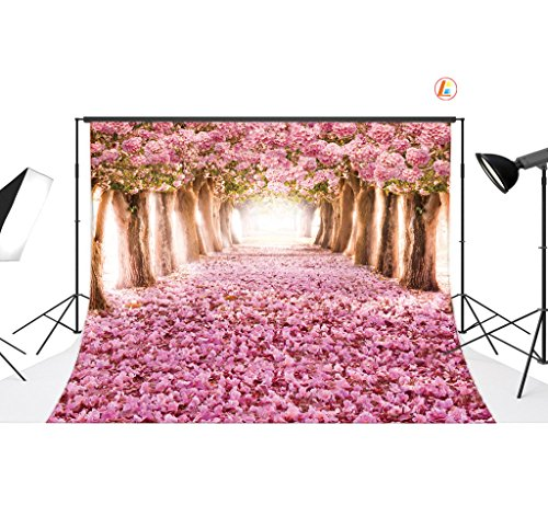 LB 7ft X5ft Cherry Blossoms Street Poly Fabric Photo Backdrops Customized Studio Background Studio Props Floral Tree Scenery Backdrop 14-402 by LB