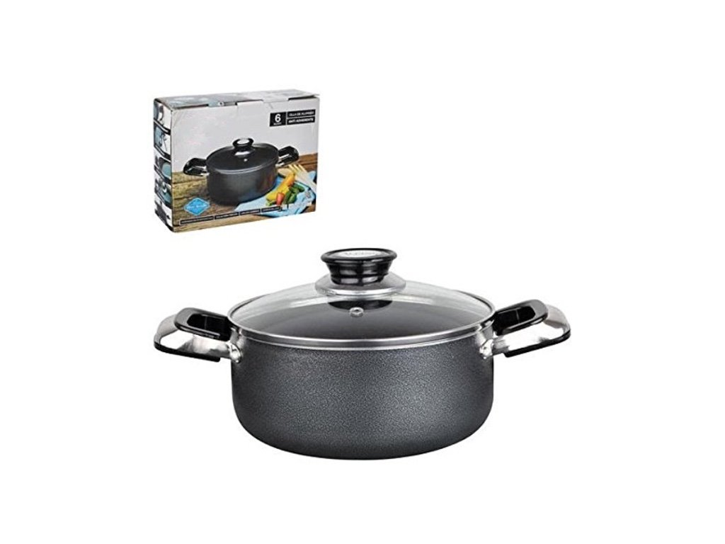 Home N Kitchenware Collection Aluminum Dutch Oven with Glass Lid, Non-stick Coating, Heavy Gauge (3.5mm), Anti Adherente, Gray (10 Quart)