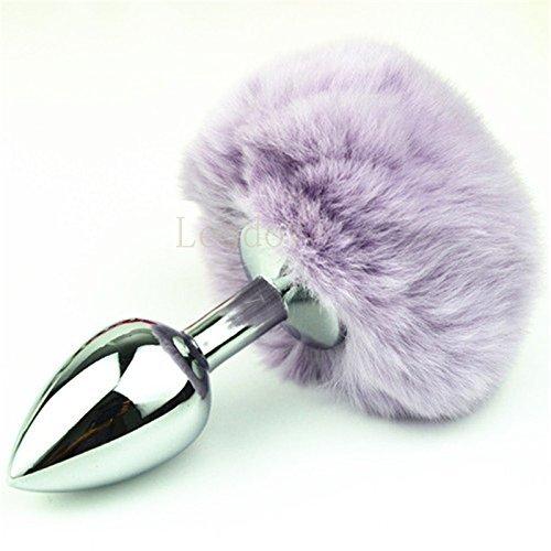 DACHUI 1pcs/Lote Grande de inoxidable acero inoxidable de plateado Buttplug con 10 colores de cola de conejo Butt plug anal gay juguete para GS0310 Color Púrpura oscuro f2cab4