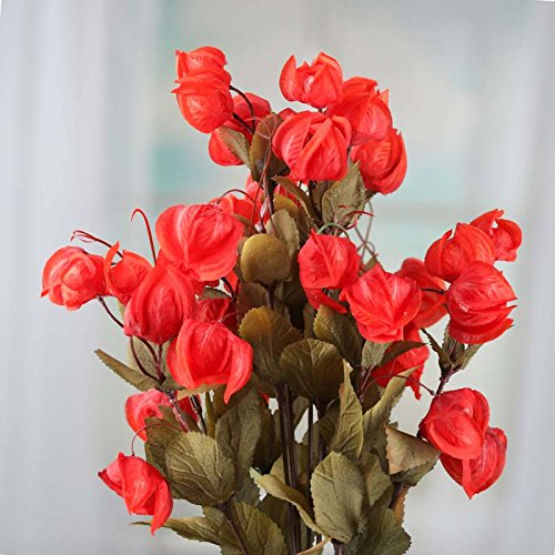 Factory Direct Craft Pair of Lovely Red Orange Artificial Chinese Lantern Floral Bushes for Crafting, Arranging and Displaying