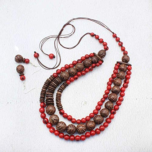 Long Red Beaded Necklace Earring Set with Coconut, Triple Strand Statement Style, Fair Trade Jewelry