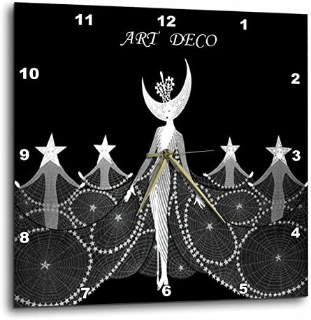 3dRose Art Deco Dancers in Black N White – Wall Clock, 13 by 13-Inch DPP_49282_2