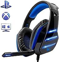 Cascos PS4 para Juegos, El Último Modelo de Beexcellent GM-3 Súper Cómodo Graves Amplificados Professional Auriculares para PS4 / PC / Xbox one / Laptop / Mac con Cancelación de Ruido de Mic Compatible