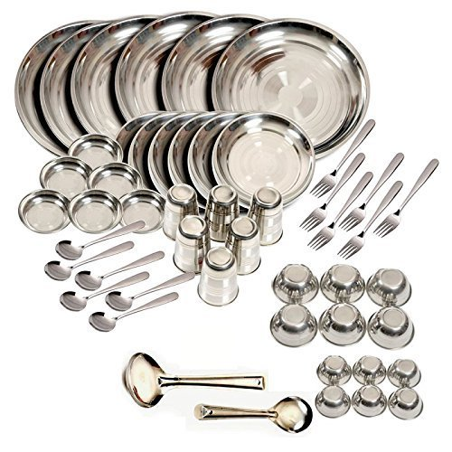 Steel Stainless Dinner Set - King International Stainless Steel Dinner Set of 50 Pieces with Branded Packing