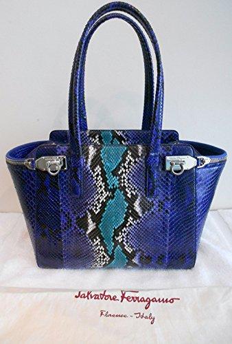 Salvatore Ferragamo Python Verve Tote Purple Silver Bag New