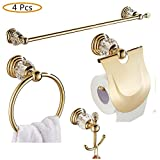 WINCASE Zinc Alloy Mterial Golden Polished Bathroom Acessory Set, Shiny Craystal Wall Mounted Bath Hardware Set Luxurious 4-Piece with Towel Bar Toilet Paper Holder Coat Hooks Towel Ring