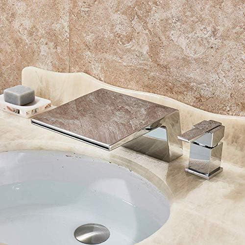 BZM-ZM タップデッキは滝流域の水栓シングルハンドルデュアルホールクロム浴室の浴槽シンクミキサータップの真鍮の滝スパウト蛇口をマウント