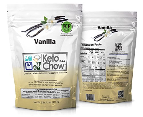 Keto Chow Ultra Low Carb Meal Replacement Shake, complete nutrition for Ketogenic Diet (Vanilla 2.1, 21 Meals)
