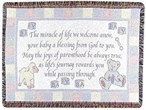 """New Baby Welcome Poem Celebration Afghan Throw Blanket 40"""" x 50"""""""