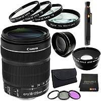 Canon EF 18-135mm f/3.5-5.6 IS STM Standard Zoom Lens Bundle 8 (International Model No Warranty)
