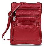Women's Handbag Genuine Cross Body Purse Bag, Multi-Pocket, Wine Crossbody Bags for Women, Small/Medium Crossbody Bag and Messenger Handbags