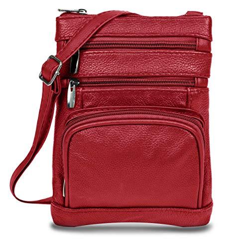 Women's Handbag Genuine Cross Body Purse Bag, Multi-Pocket, Wine Crossbody Bags for Women, Small/Medium Crossbody Bag and Messenger Handbags (Red And Black Cross Purse)