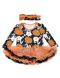 Infant Baby Girls Halloween Pumpkin Romper Dress Outfit Party Dresses(0-24 Months)