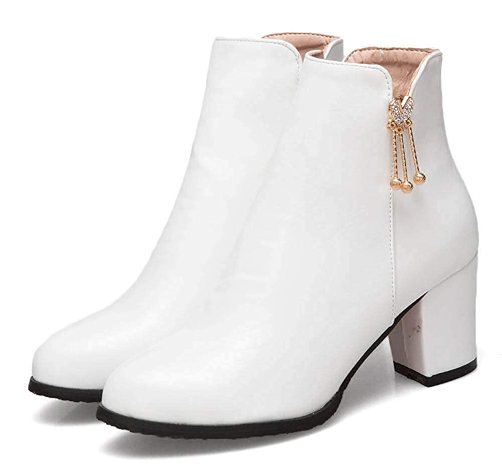 Unm Womens Rhinestone Pendant Mid Chunky Heel Round Toe Dress Ankle Boots with Zipper