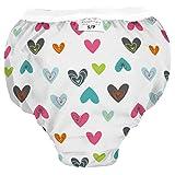 Kushies Waterproof Training Pant, X-Large, 38-44 lb, White Doodle Hearts