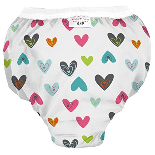 Kushies Baby Waterproof Training Pant (22-29 Pounds), White Doodle Hearts, Small