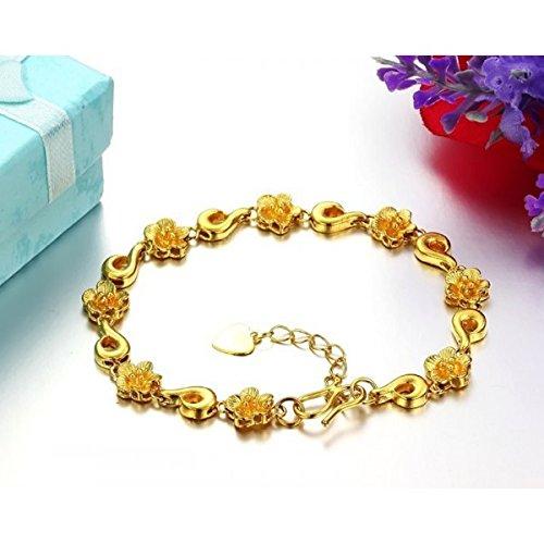 Bracelet fleurs plaqué or