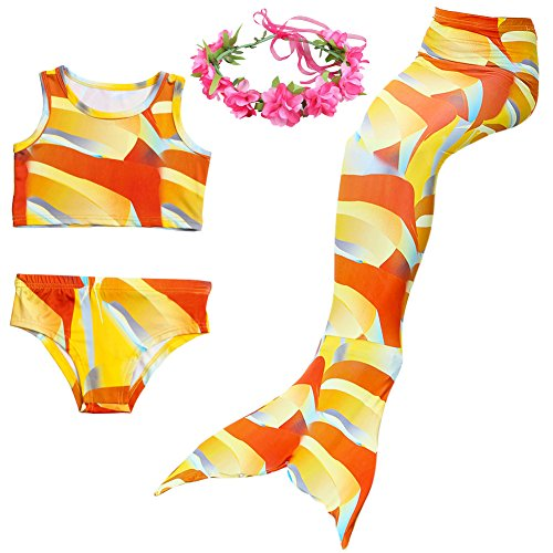 Vantina 3PCS Girls Mermaid Tail For Swimming Bikini Swimmable Custome Swimwear JP80 -