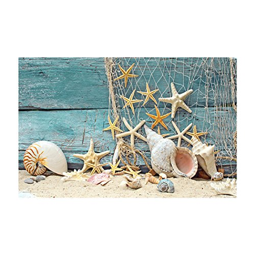 Fantasy Star Aquarium Background Fishing Net Sand Starfish Shell Easy to Apply and Remove Fish Tank Wallpaper Sticker Background Decoration 35.4''x19.6'' by Fantasy Star