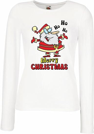 lepni.me Camisetas de Manga Larga para Mujer Papá Noel Bailando, Camisa de Vacaciones de Navidad: Amazon.es: Ropa y accesorios