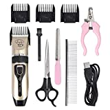 CAMWAY Pet Dog Clipper Grooming Trimmer Hair Clippers Animal Hair Professional Electric Low Noise Rechargeable Shaver Kit