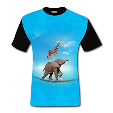 1e6efa6805f3f0 Amazon.com  Yangjio Men Funny Elephant   Giraffe 3D Printed Short Sleeve T  Shirts  Clothing