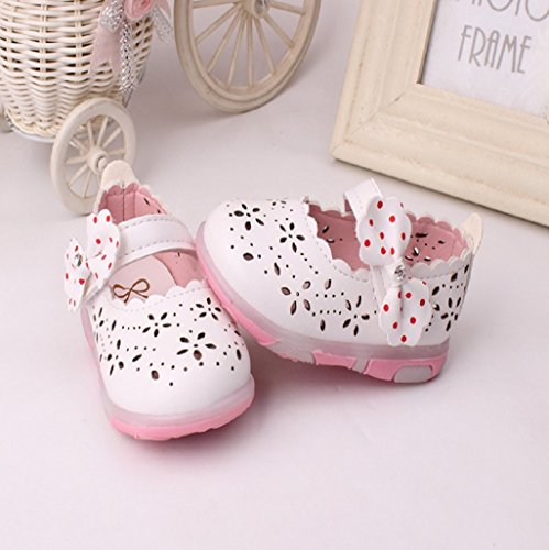 Prewalker Zapatos Auxma Las sandalias huecos del bowknot de la niña encendieron los zapatos suaves de la princesa de las suelas Blanco