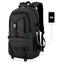 Fashion Laptop Backpack Contains Multi-function Pockets, Tocode Durable Travel Backpack with USB Charging Port Stylish Anti-theft School Bag Fits 17.3 Inch Laptop Comfort pack for Women & Men–Black II