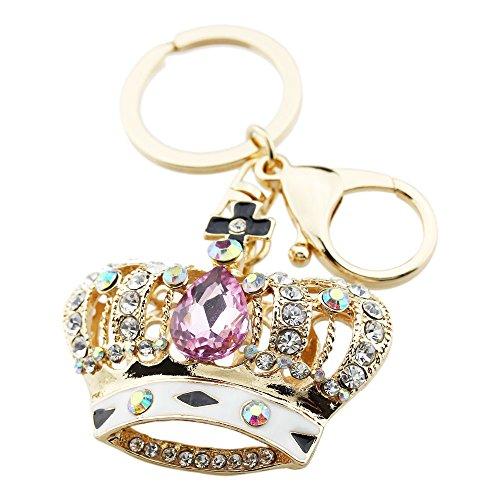 FOY-MALL Crown Pink Crystal Rhinestone Alloy Women Keychain Favors - Crystal Mall