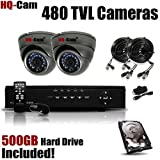 HQ-Cam® 2-Channel H.264 DVR Surveillance Security Package System with 2 x 480 TV Lines Indoor/Outdoor Day Night Vision Cameras For Home Security with Power Suplies and Cables, Pre-Installed 500GB HDD