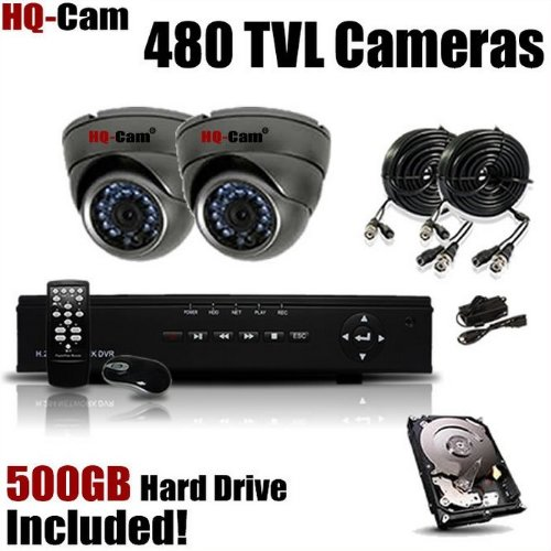 HQ-Cam® 2-Channel H.264 DVR Surveillance Security Package System with 2 x 480 TV Lines Indoor/Outdoor Day Night Vision Cameras For Home Security with Power Suplies and Cables, Pre-Installed 500GB HDD, Best Gadgets