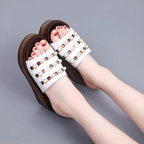 à mode HAIZHEN 6 marron CN38 lacets UK5 EU38 fraîches Blanc la à Pantoufles Chaussures Blanc noir de Pour taille pour chaussures femmes blanc été 5 femmes Couleur 5cm diamantées 0qz0r