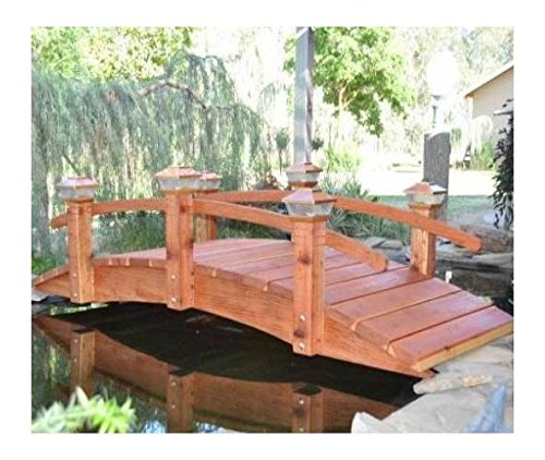 8 ft. Short Post Garden Bridge (Short Post Garden Bridge w Lights) by Redwood Garden Bridges