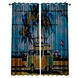 """lovely seaside patio decor ideas  Blackout Window Curtain Panels - 2 Panels Thermal Curtain Drapes Insulated Window Treatments for Bedroom Living Room Kitchen,Summer Holiday Tropical Seaside 52"""" x 96"""""""