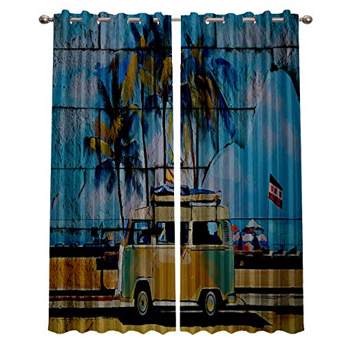 """Blackout Window Curtain Panels - 2 Panels Thermal Curtain Drapes Insulated Window Treatments for Bedroom Living Room Kitchen,Summer Holiday Tropical Seaside 52"""" x 96"""""""