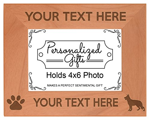 Personalized Dog Picture Frame German Shepherd Your Text Personalized Dog Frame Natural Wood Engraved 4x6 Landscape Picture Frame Wood