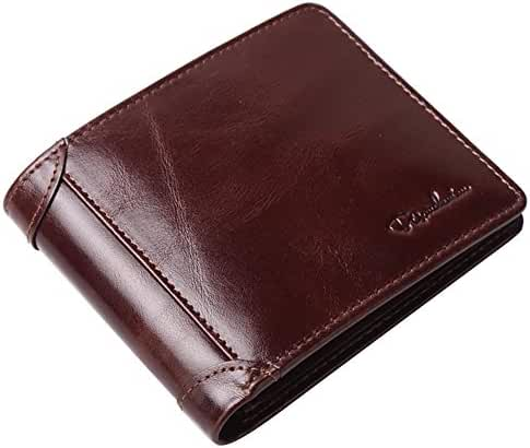Bison Denim Men's Genuine Cowhide Leather Vintage Bifold Wallets