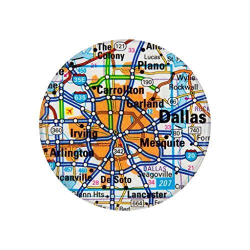 Dallas, TX, City Map Photo Print,2.25 Inch Pocket Mirror, Refrigerator Magnet or Pinback Button ()