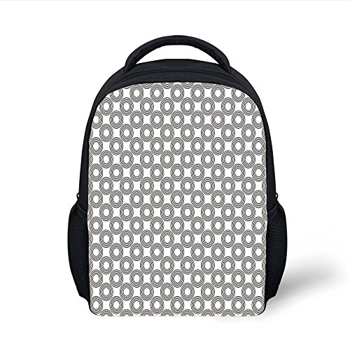 iPrint Kids School Backpack Geometric Circle Decor,Vinyl Records Inspired Concentric Rings with Curve Grids Art Print,Black Gray Plain Bookbag Travel Daypack